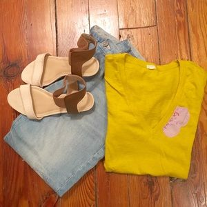 J. CREW yellow tee with silk flowers - Size S
